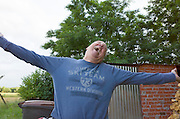 Infamous stock photographer Steve Skjold celebrating after his arrival in Poland. Zawady Central Poland