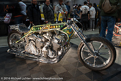 Invited builder Kiyo Mitsuhiro's twin-engine Honda drag bike at the Mooneyes Yokohama Hot Rod & Custom Show. Yokohama, Japan. December 4, 2016.  Photography ©2016 Michael Lichter.