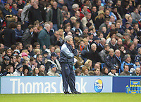 11/12/2004 - FA Barclays Premiership - Manchester City v Tottenham Hotspur - The City of Manchester Stadium.<br />Manchester City's manager Kevin Keegan stands dejected on the touchline.<br />Photo:Jed Leicester/Back Page Images