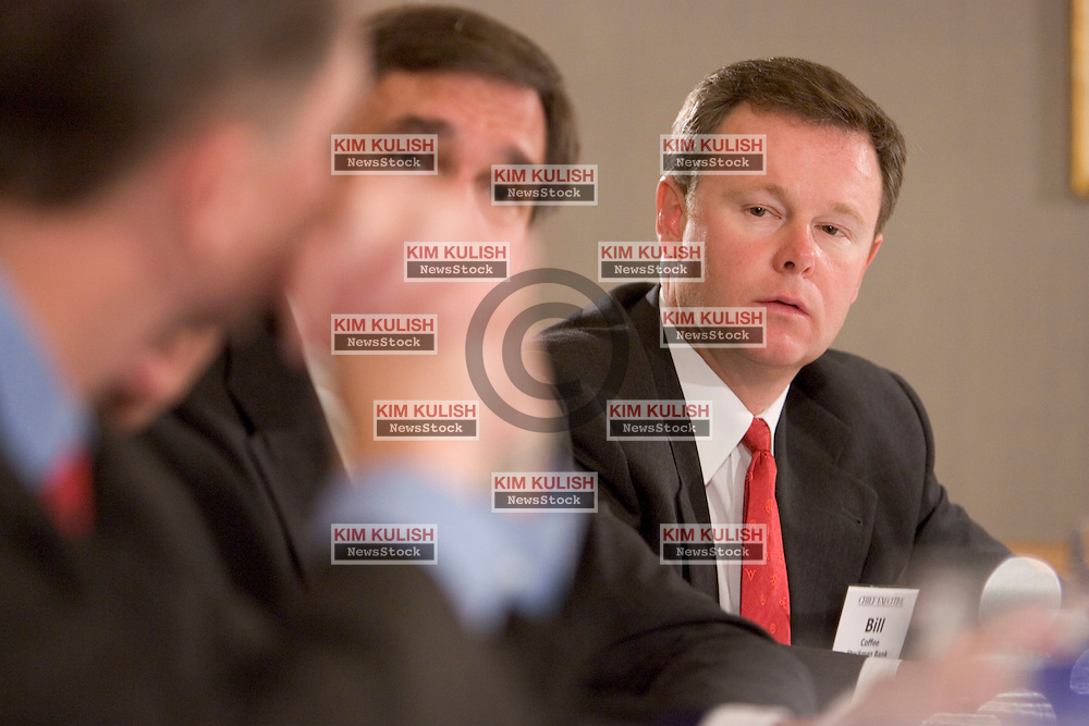 Bill Coffee, Executive, VP, Stockman Bank, (R) attends the Chief Executive luncheon roundtable at the Ritz Carlton, Marina Del Rey, Calif. sponsored by Chief Executive Magazine in partnership with Blue Cross/Blue Shield Association.  Photo By  Kim Kulish