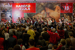 October 7, 2018 - Sao Paulo, Sao Paulo, Brazil - FERNANDO HADDAD, Brazil's presidential candidate by Workers Party (PT), talks to the press after confirmation of second place in the first round vote of the Brazilian elections. (Credit Image: © Paulo Lopes/ZUMA Wire)