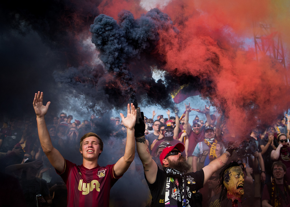 Chris Lucas and Michael Martell celebrate after Detroit City's sixth goal against Milwaukee Torrent at Keyworth Stadium in Hamtramck, Michigan on Saturday, July 1, 2018.<br /> <br /> Credit: Cameron Pollack / Detroit Free Press