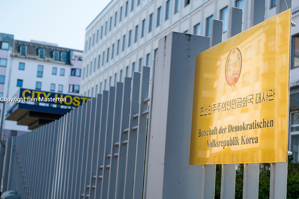 Exterior view of City Hostel in Berlin, Located next to North Korean Embassy which controversially owns and rents out the  the building in contravention of international sanctions. Berlin, Germany.