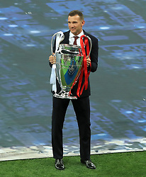 Andriy Shevchenko holding the champions league trophy ahead of the UEFA Champions League Final at the NSK Olimpiyskiy Stadium, Kiev. PRESS ASSOCIATION Photo. Picture date: Saturday May 26, 2018. See PA story SOCCER Champions League. Photo credit should read: Peter Byrne/PA Wire