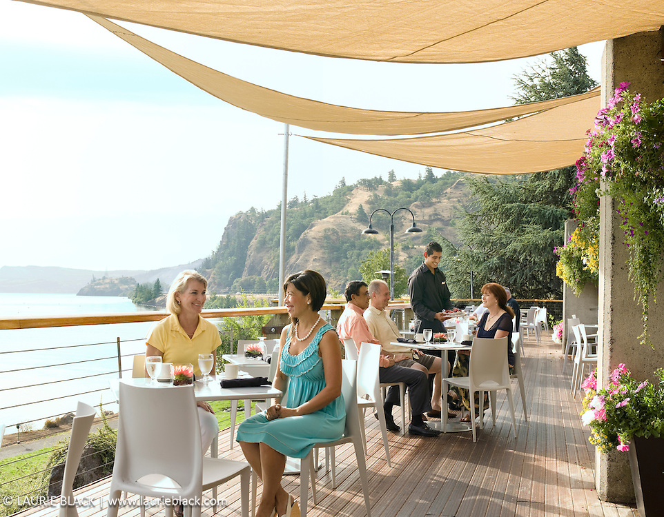 Restaurant patio dining with view of Columbia River Gorge