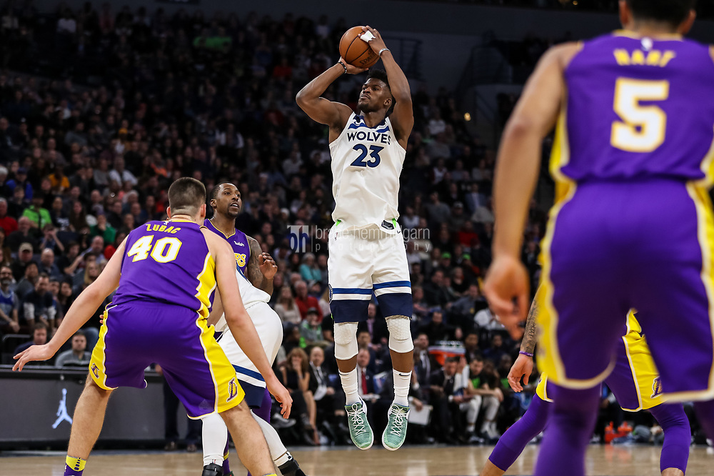 Feb 15, 2018; Minneapolis, MN, USA; Minnesota Timberwolves guard Jimmy Butler (23) shoots during the fourth quarter against the Los Angeles Lakers at Target Center. Mandatory Credit: Brace Hemmelgarn-USA TODAY Sports