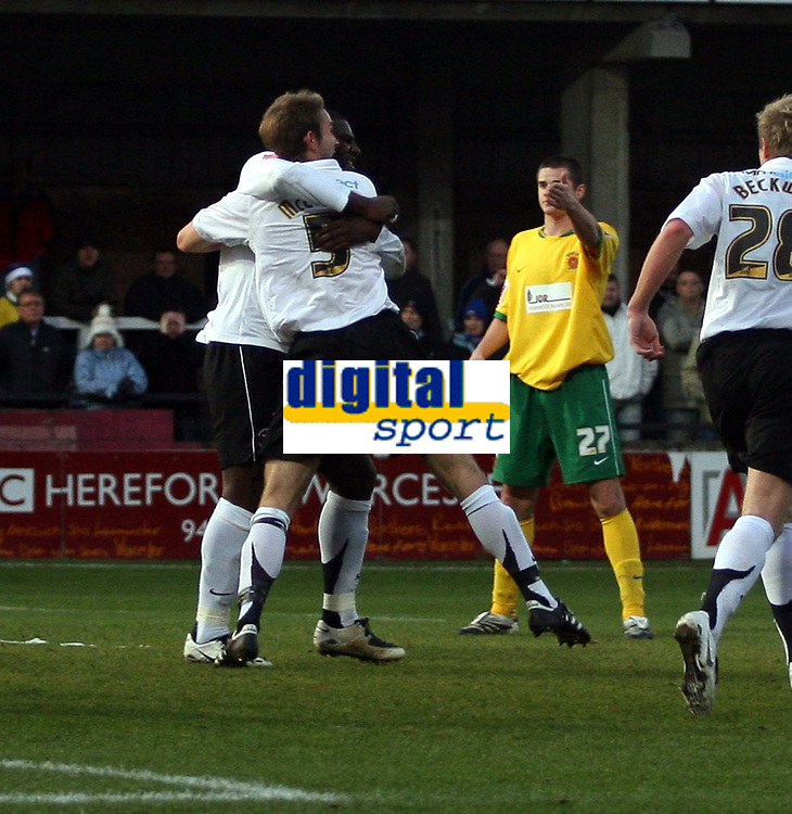 Photo: Mark Stephenson/Sportsbeat Images.<br /> Hereford United v Hartlepool United. The FA Cup. 01/12/2007.Hereford's John McCombe (no 5) celebrates his goal