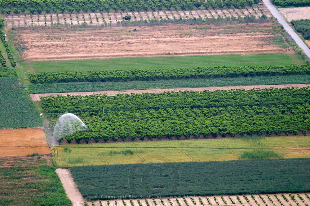 Vegetable fields under irrigation. Amyndeon Amindeo region, Macedonia, Greece
