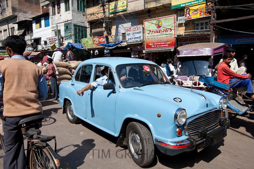 Air Force Ambassador Classic car in streets of Khari Baoli, Old Delhi, India
