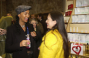 Mouchette Bell and Lesley Chilkes. Stephen Jones exhibition to celebrate 25 years in business, private view & reception. Dover Street Market, 17-18 Dover Street, London, W1, 1 December  2005. ONE TIME USE ONLY - DO NOT ARCHIVE  © Copyright Photograph by Dafydd Jones 66 Stockwell Park Rd. London SW9 0DA Tel 020 7733 0108 www.dafjones.com