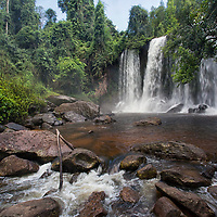 The Kulen waterfall is located in the Phnom Kulen National Park.