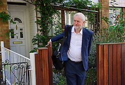 ©  London News Pictures. 23/09/2016. London, UK.  Labour Party leader JEREMY CORBYN leaving his London home the morning before the results of the Labour Party leadership election are due to be announced. Corbyn is expected to be re-elected party leader at a conference held in Liverpool tomorrow (Sat). Photo credit: Ben Cawthra/LNP
