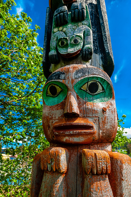 Chief Kadashan Totems, Tlingit Indians, Chief Shakes Tribal House, Chief Shakes Island, Wrangell, Southeast Alaska USA