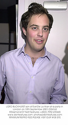 LORD BUCKHURST son of Earl De La Warr at a party in London on 18th September 2001.	OSM 62