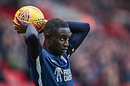 Southend United defender Elvis Bwomono (2) takes a throw in during the EFL Sky Bet League 1 match between Charlton Athletic and Southend United at The Valley, London, England on 9 February 2019.