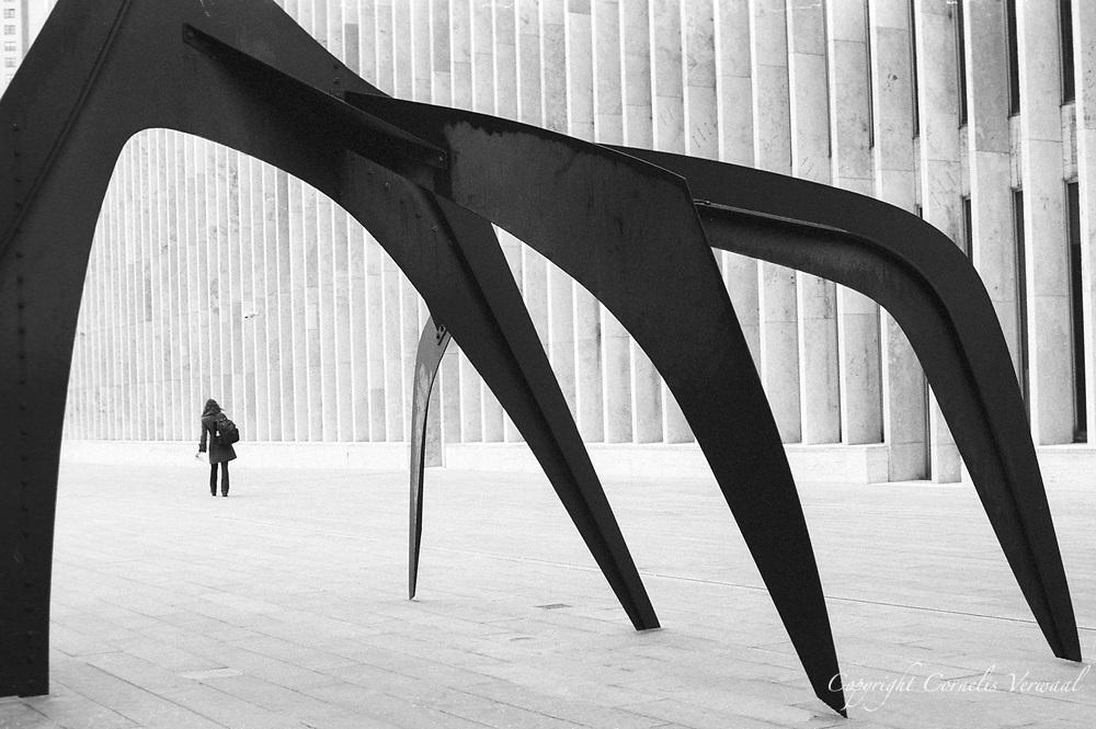 Sculpture Le Guichet (1963) by Alexander Calder.  Lincoln Center, New York City.