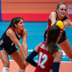 Alexis Rodriguez of USA, Allysa Batenhorst of USA in action during United States - Netherlands, FIVB U20 Women's World Championship on July 15, 2021 in Rotterdam