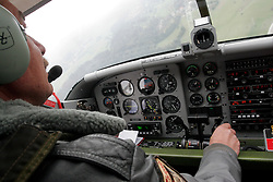 Pilot of Slovenian army's Pilatus at training of parachuters, on September 21, 2005, in Lesce-Bled, Slovenia. (Photo by Vid Ponikvar / Sportal Images)