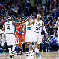 03 February 2013: Boston Celtics small forward Paul Pierce (34) is congratulated by Boston Celtics shooting guard Jason Terry (4) during the Boston Celtics 106-104 victory over the Los Angeles Clippers at the TD Garden, Boston, Massachusetts, USA.