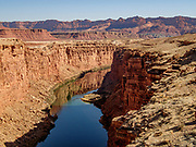 Colorado River seen from Old Navajo Bridge at River Mile 4.5, Grand Canyon National Park, Arizona, USA. The original Navajo Bridge was built in 1929. The new bridge was completed in 1995.