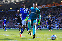 29th October 2017 - Sky Bet EFL Championship - Birmingham City v Aston Villa - Isaac Vassell of Birmingham pushes Villa goalkeeper Sam Johnstone as the ball runs out of play - Photo: Simon Stacpoole / Offside.
