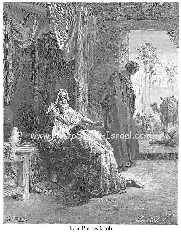 Isaac Blessing Jacob Genesis 27:29 From the book 'Bible Gallery' Illustrated by Gustave Dore with Memoir of Doré and Descriptive Letter-press by Talbot W. Chambers D.D. Published by Cassell & Company Limited in London and simultaneously by Mame in Tours, France in 1866
