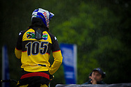 #105 (NHLAPO Sifiso) RSA training in rainy conditions at the UCI BMX Supercross World Cup in Papendal, Netherlands.