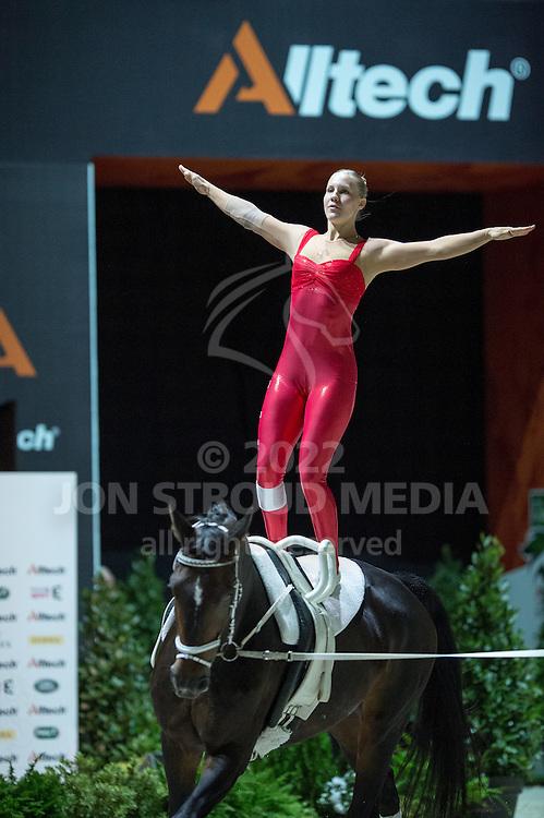 Elisabeth Bieri, (SUI), Rocky xxxviii CH, Corinne Stump - Individuals Women Compulsory Vaulting - Alltech FEI World Equestrian Games™ 2014 - Normandy, France.<br /> © Hippo Foto Team - Jon Stroud<br /> 02/09/2014