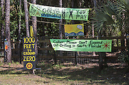 Sign in front of Pamal Durans house. At the end of the road is the proposed drill site.