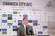 Paul Clement, the Swansea city manager speaks at his post match press conference. Premier league match, Swansea city v Newcastle Utd at the Liberty Stadium in Swansea, South Wales on Sunday 10th September 2017.<br /> pic by  Andrew Orchard, Andrew Orchard sports photography.