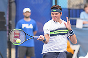 MILOS RAONIC hits a forehand during his match on day four at the Citi Open at the Rock Creek Park Tennis Center in Washington, D.C.