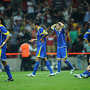 Kazakhstan's players during their UEFA EURO 2012 Qualifying round Group A soccer match Turkey betwen Kazakhstan at TT Arena Istanbul September 02, 2011. Photo by TURKPIX