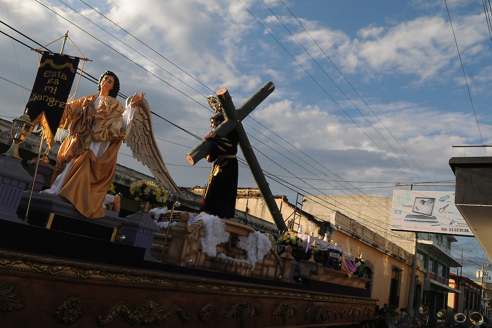 The Float with a depiction of Jesus of Nazareth on it is walked down 14 avenue in Quetzaltenago during the first lent processional Sunday afternoon.