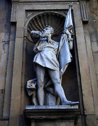 Statue located outside of the Uffizi museum in Florence, Italy. One of the oldest art museums in the Western World. Semi enclosed figurative statues such as this appear all over Florence. Statue of Michele di Lando, the first leader of the Ciompi Revolt in Florence.