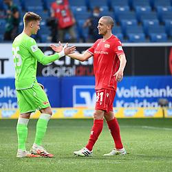Torwart Moritz Nicolas (Union Berlin, l.) mit Keven Schlotterbeck (Union Berlin, r.). nach dem Spiel.<br /> <br /> Sport: Fussball: 1. Bundesliga: Saison 19/20: 33. Spieltag: TSG 1899 Hoffenheim - 1. FC Union Berlin, 20.06.2020<br /> <br /> Foto: Markus Gilliar/GES/POOL/PIX-Sportfotos<br /> <br /> Foto © PIX-Sportfotos *** Foto ist honorarpflichtig! *** Auf Anfrage in hoeherer Qualitaet/Aufloesung. Belegexemplar erbeten. Veroeffentlichung ausschliesslich fuer journalistisch-publizistische Zwecke. For editorial use only. DFL regulations prohibit any use of photographs as image sequences and/or quasi-video.