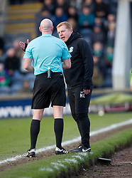 Hibernian's manager Neil Lennon not happy after a penalty incident. halt time : Raith Rovers 0 v 0 Hibernian, Scottish Championship game played 18/2/2017 at Starks Park.