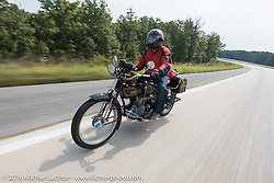 Bryne Bramwell of Canada riding his 1913 Henderson during the Motorcycle Cannonball Race of the Century. Stage-6 from Cape Girardeau, MO to Springfield, MO. USA. Thursday September 15, 2016. Photography ©2016 Michael Lichter.