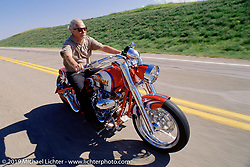 Arlen Ness riding his custom Avon Bike during the Black Hill Motorcycle Rally. Sturgis, SD. ©2005 Michael Lichter.