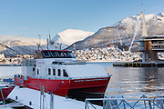 Tromsø harbour, looking towards Tromsdalen, in Northern Norway.