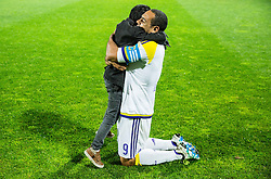 Marcos Morales Tavares #9 of NK Maribor with his son celebrate after winning during football match between NK Celje and NK Maribor in Final of Slovenian Cup 2016, on May 25, 2016 in Stadium Bonifika, Koper, Slovenia. Photo by Vid Ponikvar / Sportida