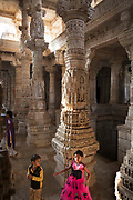 Svetambara Jain temple on 22nd January 2018 in Ranakpur, Rajasthan, India. The Ranakpur temple is dedicated to Tirthankara Rishabhanatha. Darna Shah, a local Jain businessperson, started construction of the temple in the 15th century following a divine vision. The Ranakpur temple is one of the largest and most important temples of Jain culture. The temple is a grand white marble structure spread over 4,500 m2 with 1444 marble pillars and twenty-nine halls.
