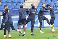 Manchester United Forward Romelu Lukaku in warm up with Manchester United Midfielder Paul Pogba and Manchester United Midfielder Scott McTominay with Manchester United Forward Marcus Rashford during the Manchester United Training session ahead of the Paris Saint-Germain vs Manchester United Champions League match at Parc des Princes, Paris, France on 5 March 2019.
