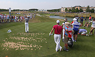 Back of the 16th. Jamie Donaldson (WAL) plays to the par 3 during Round Two of the 2015 Alstom Open de France, played at Le Golf National, Saint-Quentin-En-Yvelines, Paris, France. /03/07/2015/. Picture: Golffile   David Lloyd<br /> <br /> All photos usage must carry mandatory copyright credit (© Golffile   David Lloyd)