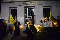 June 18, 2017 - Sao Paulo, Brazil - Movement ''Comes to Rua Sampa'' protests in front of the court in Paulista Avenue, in Sao Paulo, Brazil, on June 17, 2017. They made a symbolic act representing a seventh-day mass in memory of the Supreme Electoral Tribunal (TSE), which passed away in absolving the Dilma / Temer plate due to excessive evidence. According to the movement would be a unique case in the world in which the Defendants were absolved by excess and not by lack of evidence. (Credit Image: © Cris Faga/NurPhoto via ZUMA Press)