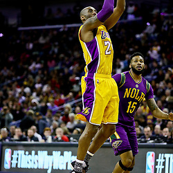 Feb 4, 2016; New Orleans, LA, USA; Los Angeles Lakers forward Kobe Bryant (24) shoots over New Orleans Pelicans forward Alonzo Gee (15) during a game at the Smoothie King Center. The Lakers defeated the Pelicans 99-96. Mandatory Credit: Derick E. Hingle-USA TODAY Sports