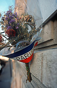 Detail of a bouquet of dying flowers, gathered for a local memorial to a killed French Resistance fighter during German-occupied WW2, on 26th April 2008, in Paris France.