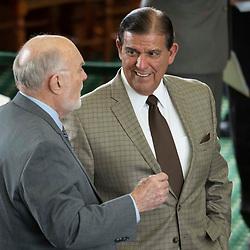 Texas Senate action on Tuesday, May 18, 2021 showing Sen. Eddie Lucio, D-Brownsville, talking with Sen. Robert Nichols, R-Jacksonville.