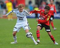 Fotball NM Cup Stjørdalsblink - Rosenborg<br /> Øverlands Minde, Stjørdal 13 mai 2010<br /> <br /> Gjermund Åsen, Rosenborg og Sondre Hopmark Stokke, Stjørdals-Blink i duell om ballen<br /> <br /> Foto : Arve Johnsen, Digitalsport