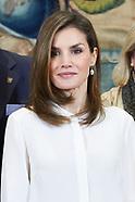 032817 Queen Letizia attends audiences at Zarzuela Palace