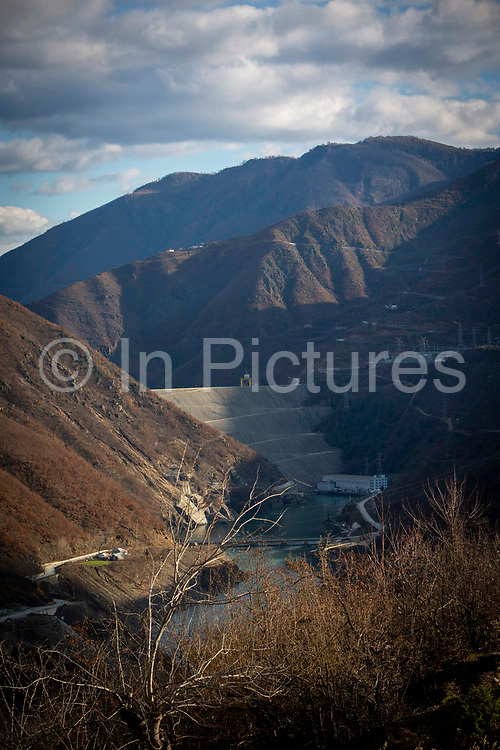 The Dam of the Fierze Hydroelectric Power Station uses water from the river Drin to generate electricity on the 12th of December 2018, Sckoder County, Albania.  The dam has a total volume of 8 million cubic meters and has an annual average power output of 1,330GWh.